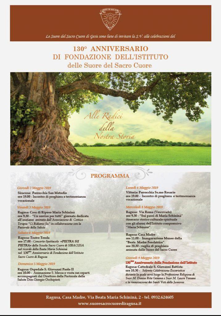 130° ANNIVERSARIO DI FONDAZIONE DELL'ISTITUTO  delle Suore del Sacro Cuore